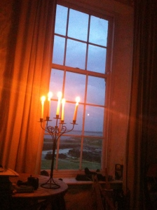The school house, with a view to the small harbour of Inishlacken, late at night - the summer solstice